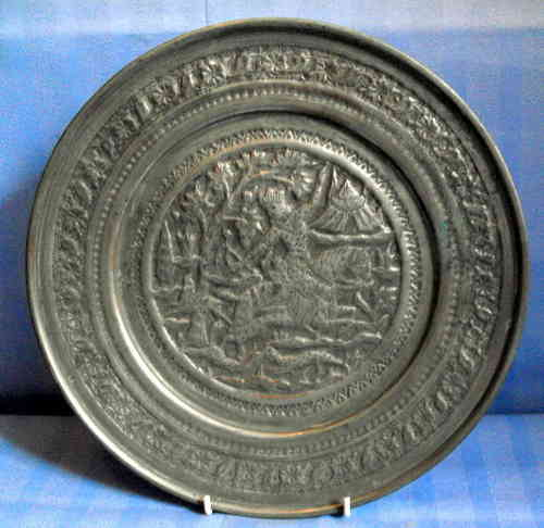 Asian pewter plaque hunting