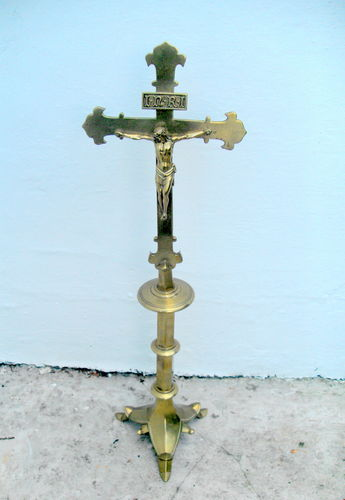 Tall brass Altar Crucifix
