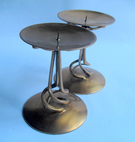 Pair brass pricket stands