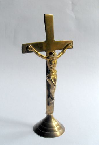 Brass altar crucifix