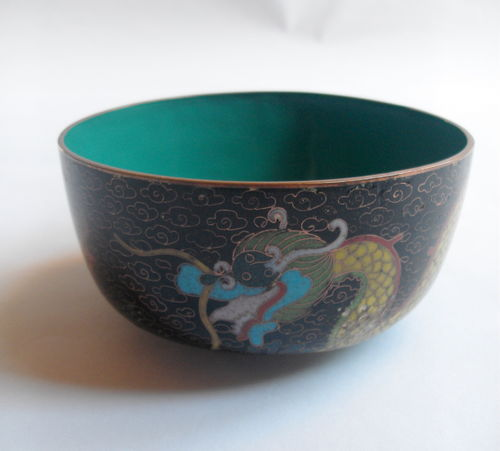 Cloisonne dragon bowl 1