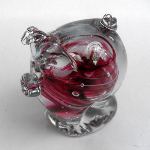 Signed glass piggie deskweight
