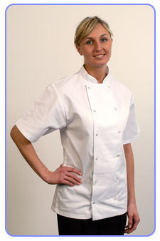 Short sleeved Chefs jacket.Black or white.