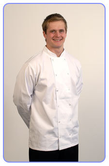 Long sleeved Chefs` jacket. Black or white