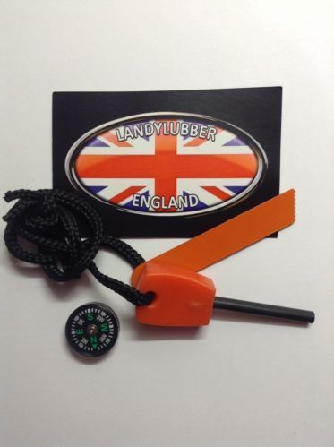 Mini Fire Steel and Button Compass